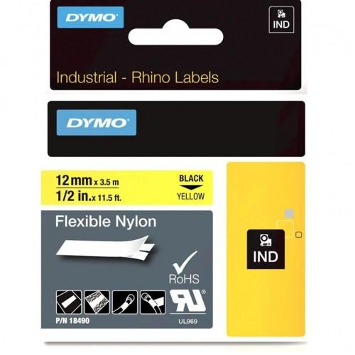 Лента нейлоновая Dymo для неровных поверхностей и кабелей, 12ммx3,5м, черный на желтой ленте