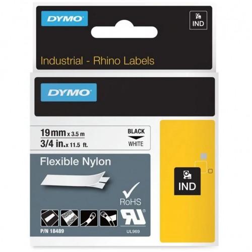 Лента нейлоновая Dymo для неровных поверхностей и кабелей, 19ммx3,5м, черный на белой ленте