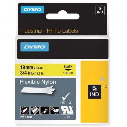 Лента нейлоновая Dymo для неровных поверхностей и кабелей, 19ммx3,5м, черный на желтой ленте