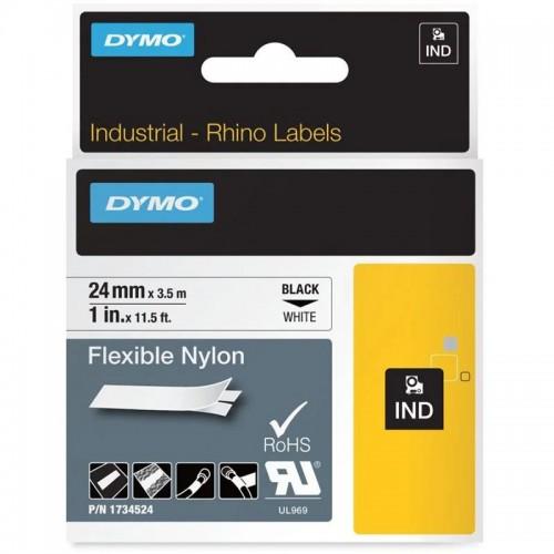 Лента нейлоновая Dymo для неровных поверхностей и кабелей, 24ммx3,5м, черный на белой ленте