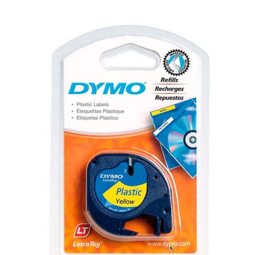 Лента Dymo для принтера LetraTag, 12мм х 4м , пластиковая, желтая, в блистере S0721620