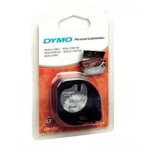 Лента Dymo для принтера LetraTag, 12мм х 4м, пластиковая, серебряный металлик, в блистере S0721730