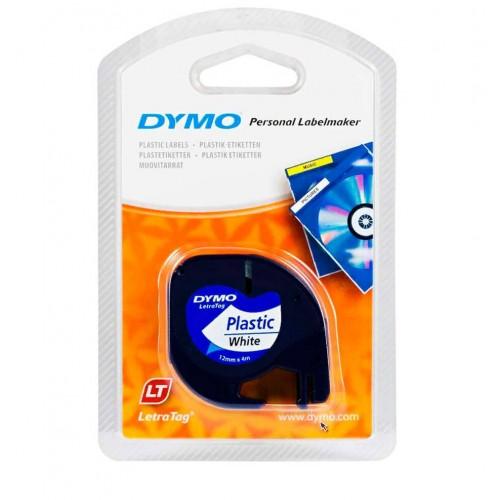 Лента Dymo для принтера LetraTag, 12мм х 4м, пластиковая, белая, в блистере S0721610