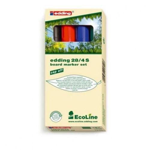 Набор маркеров для эмалевых досок Edding (Эддинг) 28 EcoLine, круглый наконечник, 1,5-3 мм, 4 шт/уп