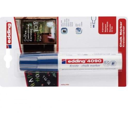 Маркер меловой для окон Edding (Эддинг) 4090, смываемый, клиновидный наконечник, 4-15 мм, синий 003, блистер