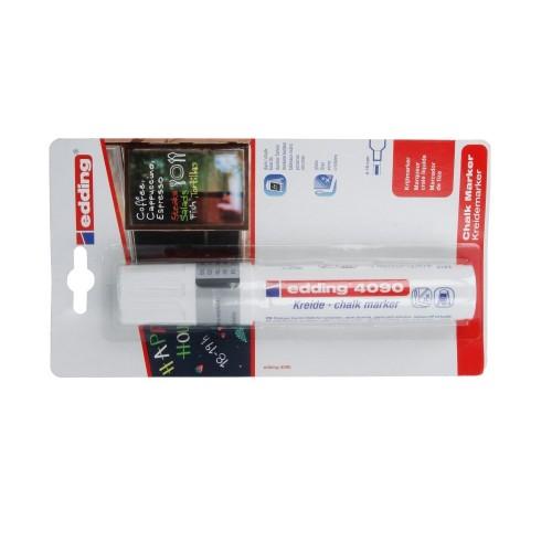 Маркер меловой для окон Edding (Эддинг) 4090, смываемый, клиновидный наконечник, 4-15 мм, белый 049, блистер