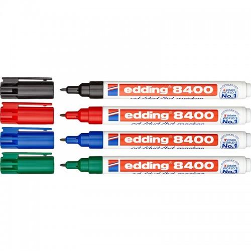 Набор маркеров перманентных для компакт дисков CD/DVD/BD Edding (Эддинг) 8400, круглый наконечник, 0,5-1 мм, 4 шт/уп