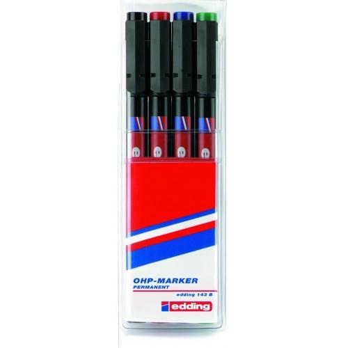 Набор маркеров для проекторных пленок Edding (Эддинг) 143B, клиновидный наконечник, 1-3 мм, 4 шт/уп