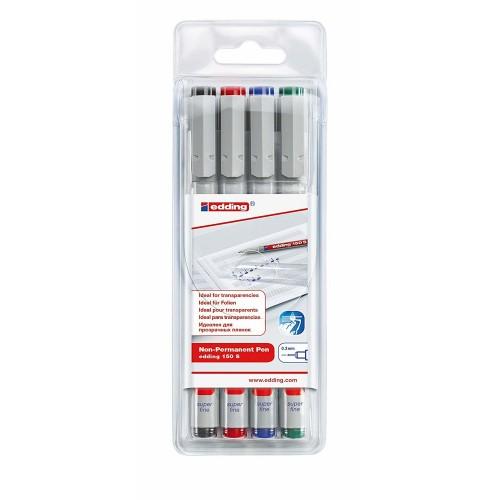 Набор маркеров для проекторных пленок смываемый Edding (Эддинг) 150S, круглый наконечник, 0,3 мм, 4 шт/уп
