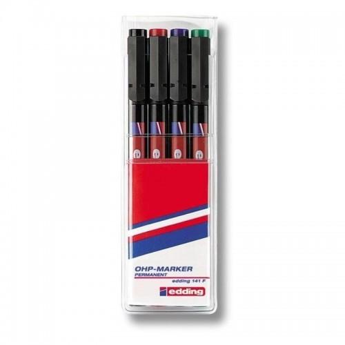 Набор маркеров для проекторных пленок Edding (Эддинг) 141F, круглый наконечник, 0,6 мм, 4 шт/уп