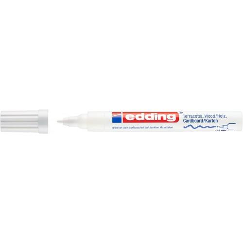 Маркер лаковый декоративный Edding (Эддинг) 4040, круглый наконечник, 1-2 мм, белый 049