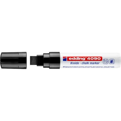 Маркер меловой для окон Edding (Эддинг) 4090, смываемый, клиновидный наконечник, 4-15 мм, черный 001