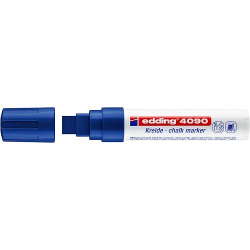 Маркер меловой для окон Edding (Эддинг) 4090, смываемый, клиновидный наконечник, 4-15 мм, синий 003