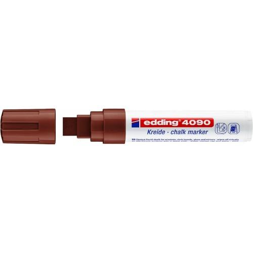 Маркер меловой для окон Edding (Эддинг) 4090, смываемый, клиновидный наконечник, 4-15 мм, коричневый 007