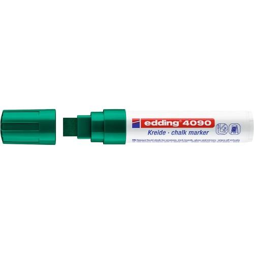 Маркер меловой для окон Edding (Эддинг) 4090, смываемый, клиновидный наконечник, 4-15 мм, зеленый 004