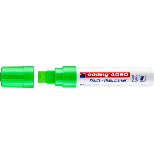 Маркер меловой для окон Edding (Эддинг) 4090, смываемый, клиновидный наконечник, 4-15 мм, салатовый 011