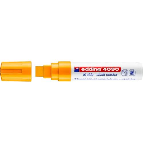 Маркер меловой для окон Edding (Эддинг) 4090, смываемый, клиновидный наконечник, 4-15 мм, неоновый оранжевый 066