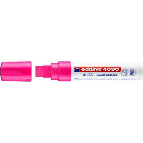Маркер меловой для окон Edding (Эддинг) 4090, смываемый, клиновидный наконечник, 4-15 мм, неоновый розовый 069
