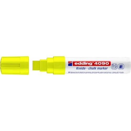 Маркер меловой для окон Edding (Эддинг) 4090, смываемый, клиновидный наконечник, 4-15 мм, желтый 005