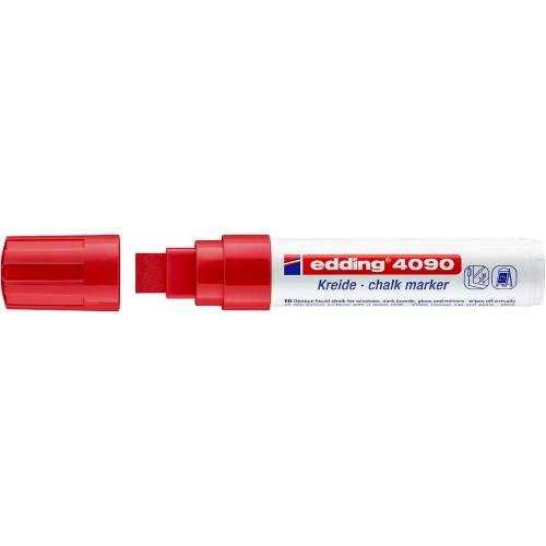 Маркер меловой для окон Edding (Эддинг) 4090, смываемый, клиновидный наконечник, 4-15 мм, красный 002