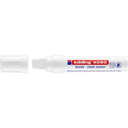 Маркер меловой для окон Edding (Эддинг) 4090, смываемый, клиновидный наконечник, 4-15 мм, белый 049