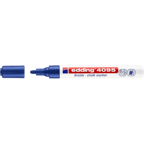 Маркер меловой для окон Edding (Эддинг) 4095, смываемый, круглый наконечник, 2-3 мм, синий 003