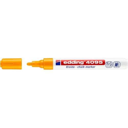 Маркер меловой для окон Edding (Эддинг) 4095, смываемый, круглый наконечник, 2-3 мм, неоновый оранжевый 066