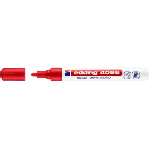 Маркер меловой для окон Edding (Эддинг) 4095, смываемый, круглый наконечник, 2-3 мм, красный 002