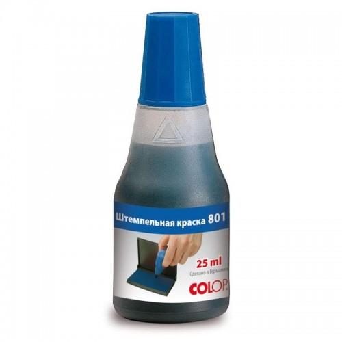 Краска штемпельная Colop 801, на водно-глицериновой основе, 25 мл, синяя