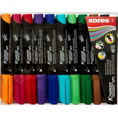Набор маркеров перманентных Kores, круглый наконечник, 3-5 мм, 10 цветов '20900