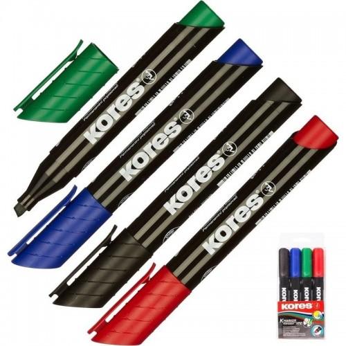 Набор маркеров перманентных Kores, скошенный наконечник, 3-5 мм, 4 цвета 20945