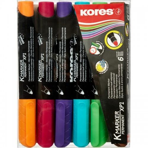 Набор маркеров перманентных Kores, круглый наконечник, 1-3 мм, 6 цветов '20902