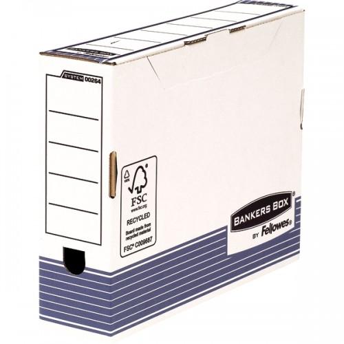 Короб архивный с крышкой переносной Fellowes (Феллоуз) R-Kive Prima А4 80 мм синий FastFold 80х315х260 мм картон FS-0026401