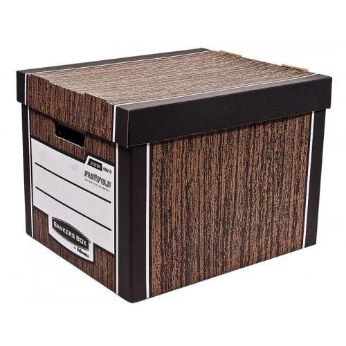 Короб архивный Fellowes (Феллоуз) Bankers Box Woodgrain сборка FastFold 325x285x385 мм гофрокартон FS-0061001
