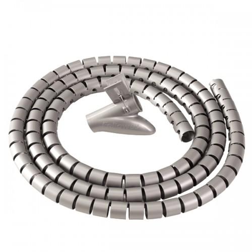 Канал-органайзер для кабелей Fellowes (Феллоуз) CableZip, 2 м, диаметр - 20 мм, серебристый, FS-99298