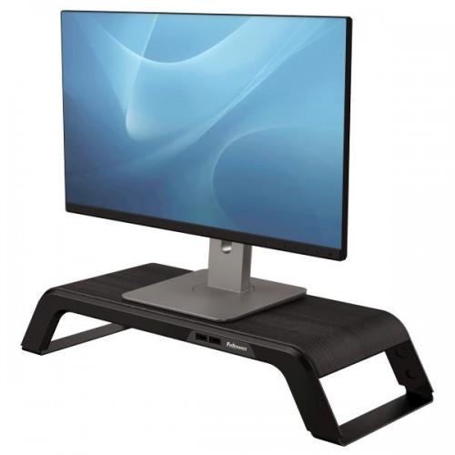Подставка под монитор Fellowes (Феллоуз) Hana премиальная, дерево/металл, 2+2 порта USB, 3 высоты, черная FS-80605