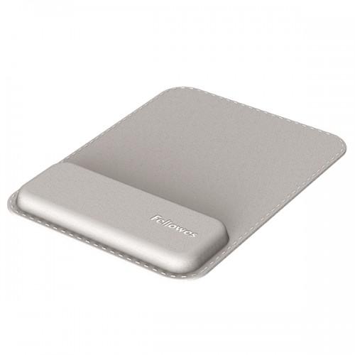Коврик для мыши Fellowes (Феллоуз) Hana премиальный, нат. кожа, поддержка запястья с эффектом памяти, серый FS-80665