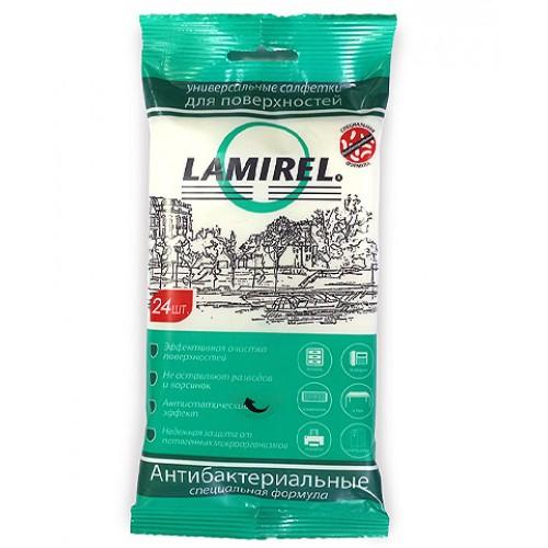 Салфетки антибактериальные чистящие Lamirel универсальные, для всех поверхностей, евростлот, 24 шт./уп. LA-61617