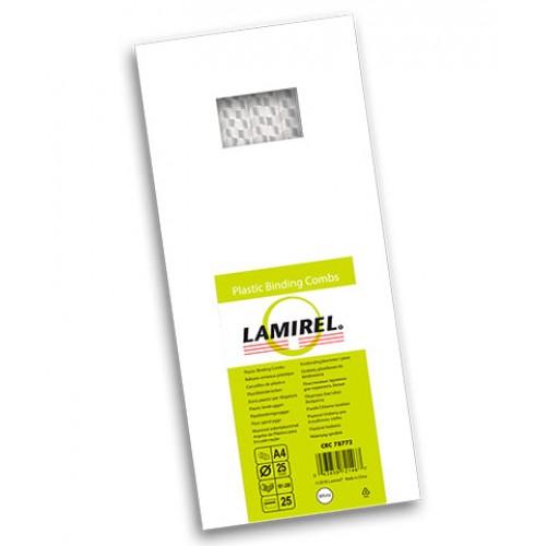 Пружина пластиковая для переплёта Lamirel 25 мм белые 25 шт./уп. LA-78772