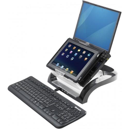 Рабочая станция (подставка) для ноутбуков планшетов и смартфонов Fellowes (Феллоуз) USB HUB x4 порта черная FS-8024801