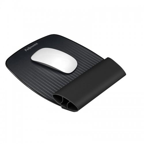 Коврик для мыши Fellowes (Фелловес) I-Spire Series  с силиконовой подкладкой для руки, черный FS-94729
