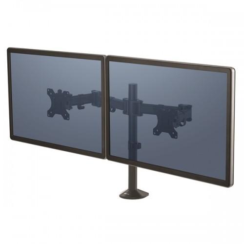 Кронштейн для 2-х мониторов Fellowes (Феллоуз) Reflex, регул-ка высоты, глубины, поворот, наклон, черный FS-85026