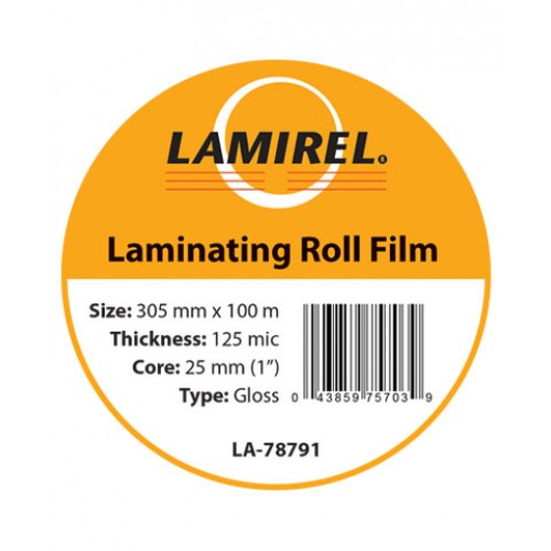 "Пленка рулонная глянцевая Lamirel 305ммх100м, 125мкм, 1""(25мм) LA-78791"