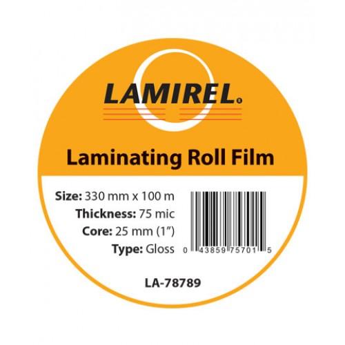"Пленка рулонная глянцевая Lamirel 330ммх100м, 75мкм, 1""(25мм) LA-78789"