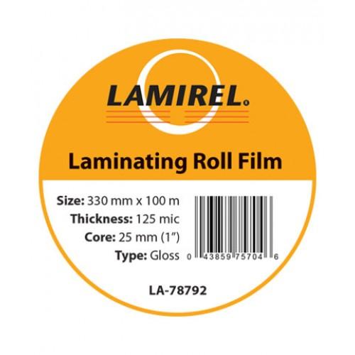 "Пленка рулонная глянцевая Lamirel 330ммх100м, 125мкм, 1""(25мм) LA-78792"