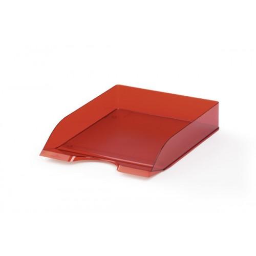 Лоток для бумаг горизонтальный Durable Basic, красный прозрачный, арт.D1701672003