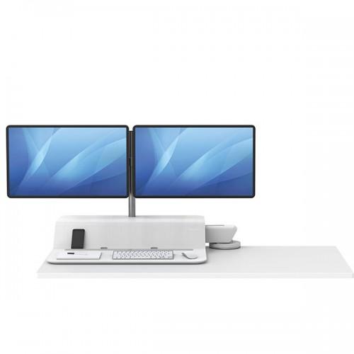 Платформа для работы сидя - стоя Fellowes (Феллоуз) Lotus RT Sit-Stand Workstation, белая, для 2 мониторов FS-80818
