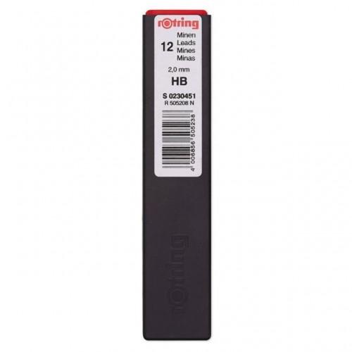 Грифели Rotring (Ротринг) для цангового карандаша, 2 мм, HB, арт. S0230451
