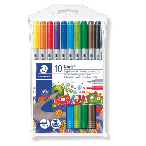 Набор фломастеров Staedtler Noris Club двухсторонних, 10 цветов, блистер , арт.ST320NWP10