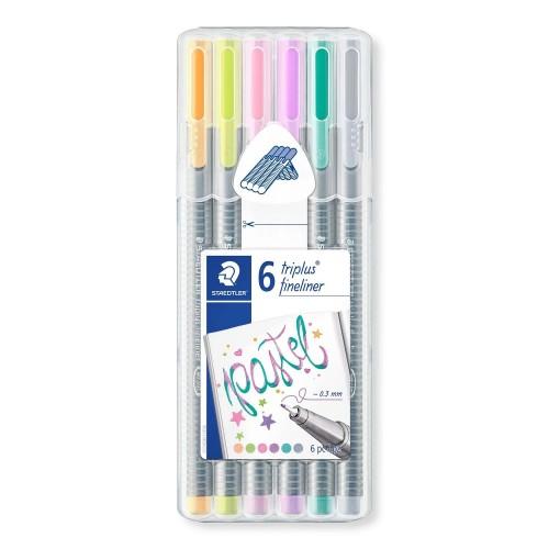 Набор капиллярных ручек Staedtler Triplus, 6 цветов, пастельные, пенал-подставка, арт.ST334SB6CS1
